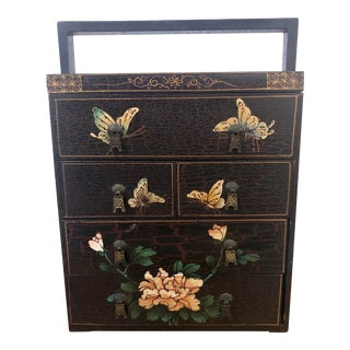 1960s Chinese Scholars Wooden Writing Box Black Lacquered With Handpainted Butterflies For Sale