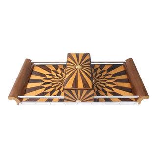 Art Deco 1920s Paul Giordano Paris Serving Tray Exotic Wood Parquet For Sale