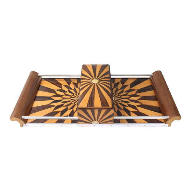 Art Deco 1920s Paul Giordano Paris Serving Tray Exotic Wood Parquet For Sale