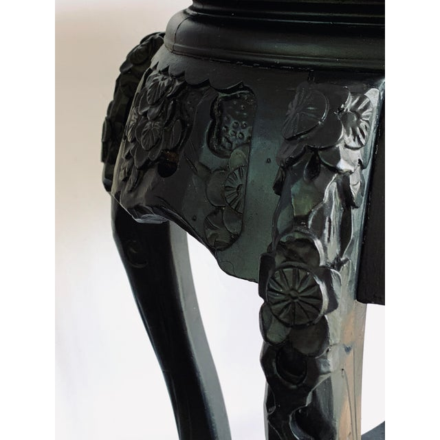 Early 20th Century Vintage Chinese Carved Wood Planter Jardiniere Holder Stand Pedestal Side Table For Sale - Image 5 of 12