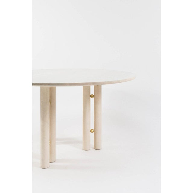 Contemporary Steven Bukowski Contemporary Martini Dining Table in Bleached Maple and Brass For Sale - Image 3 of 5