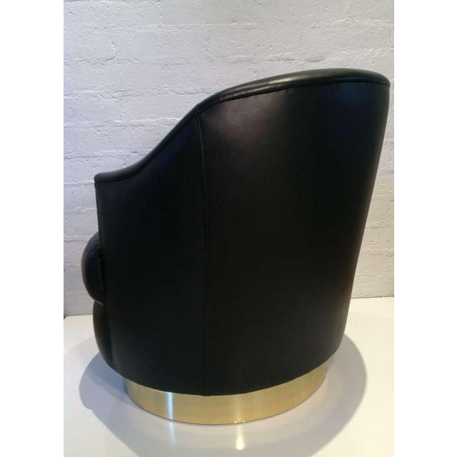 Modern Karl Springer Rich Leather Swivel Chair For Sale - Image 3 of 6