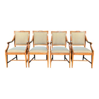 Charles Pollock William Switzer Gustavian Style Dining Chairs W Fortuny Backs - Set of 4 For Sale