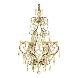 Italian Six Light Crystal Chandelier For Sale