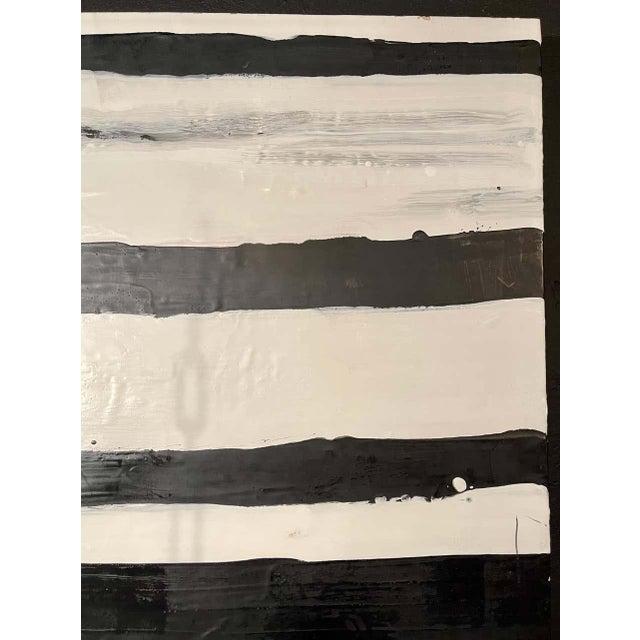 """Lynn Basa Encaustic Black and White Stripe Panel """"Doppleganger"""" 2013 For Sale - Image 4 of 12"""