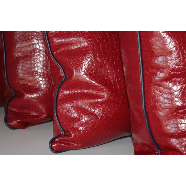 """Robert Allen Duralee Group, High Performance Red Faux Alligator Vinyl Pillows with Contrast Welting Navy Leather Cord 20""""..."""