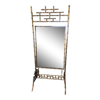 Gold Faux Bamboo Floor Mirror For Sale