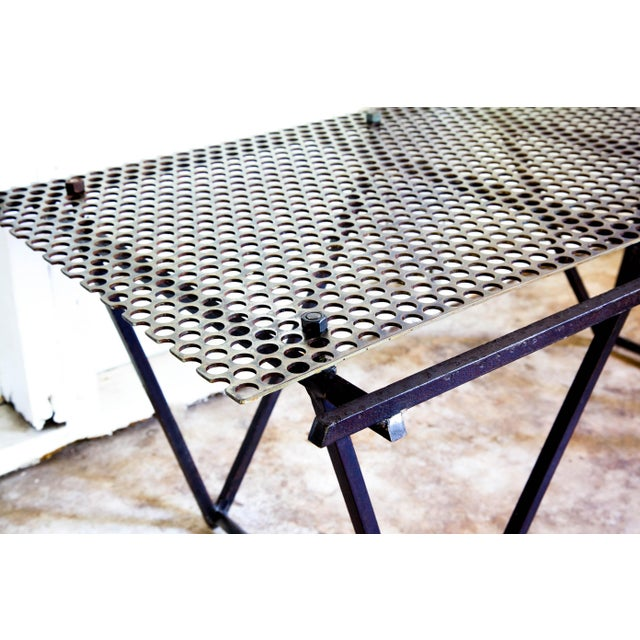 Dark Gray Artisan Made Perforated Metal Modernist Coffee Table Bed Entry Bench Tv Media Stand For Sale - Image 8 of 10