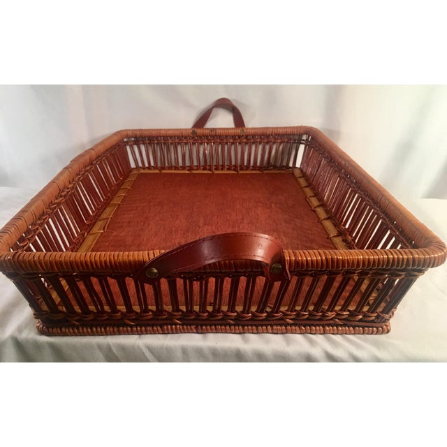 So many potential uses for this lovely wicker/rattan serving tray with cedar bottom and leather carrying handles. Back in...