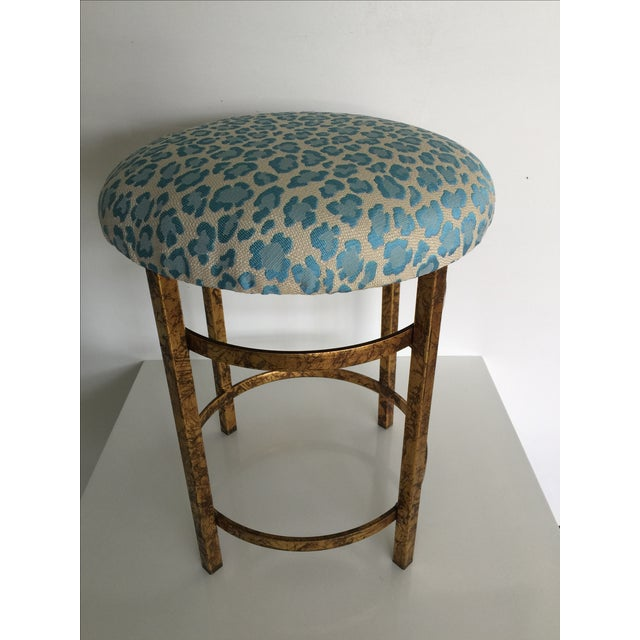 Gold Leopard Fabric Stool - Image 2 of 4