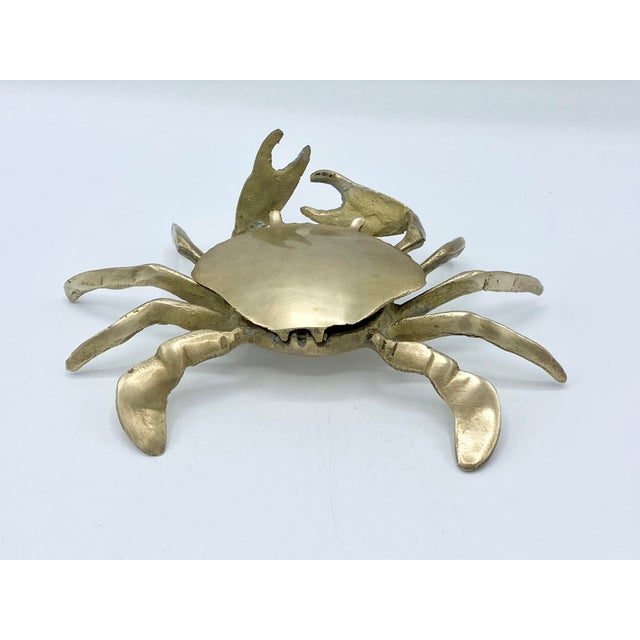 Mid-Century Brass Crab Ashtray With Hinged Lid For Sale - Image 4 of 7