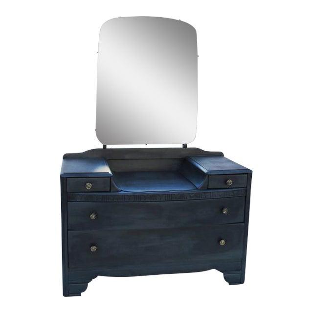 Vintage 1940's Dark Gray / Midnight Vanity Dresser & Mirror - Image 1 of 5