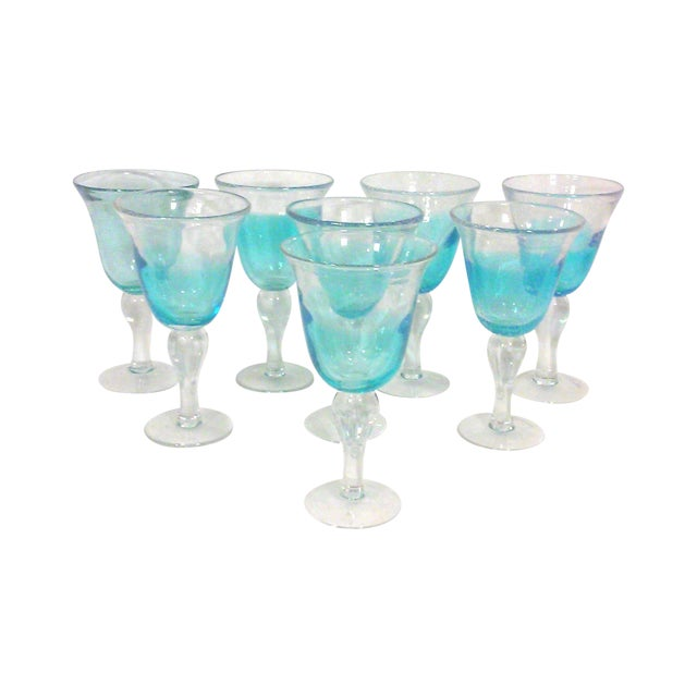 Blue Ombre Hand Blown Goblets - Set of Eight - Image 1 of 4