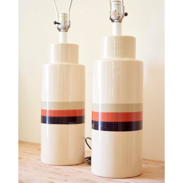 Danish Modern Mid-Century Modern Philmar/Sandel Ceramic Table Lamps - A Pair For Sale - Image 3 of 6