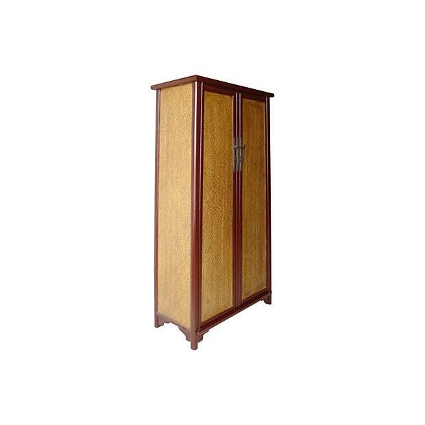 Cantonese Rattan Door Armoire - Image 2 of 6