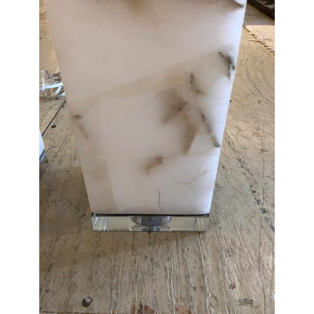Marble Cubes on Lucite Bases Table Lamps - a Pair For Sale - Image 4 of 8