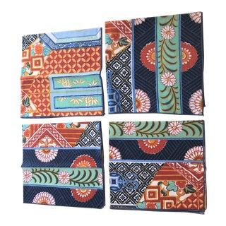 1970s Vintage Geometric Pattern Cloth Napkins - Set of 4 For Sale