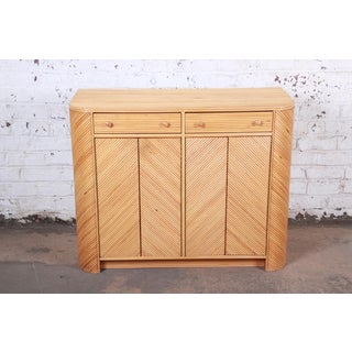 Gabriella Crespi Style Split Reed Rattan Sideboard Cabinet Preview