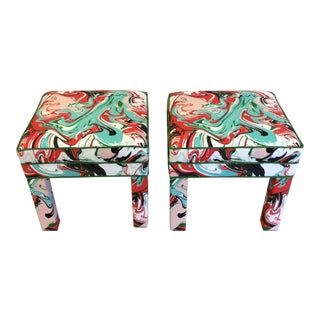 Kate Spade Marble Swirl Fabric Covered Benches - A Pair