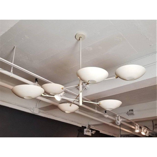 Large 'Counterbalance' Chandelier in White Enamel + Brass by Blueprint Lighting For Sale - Image 10 of 11