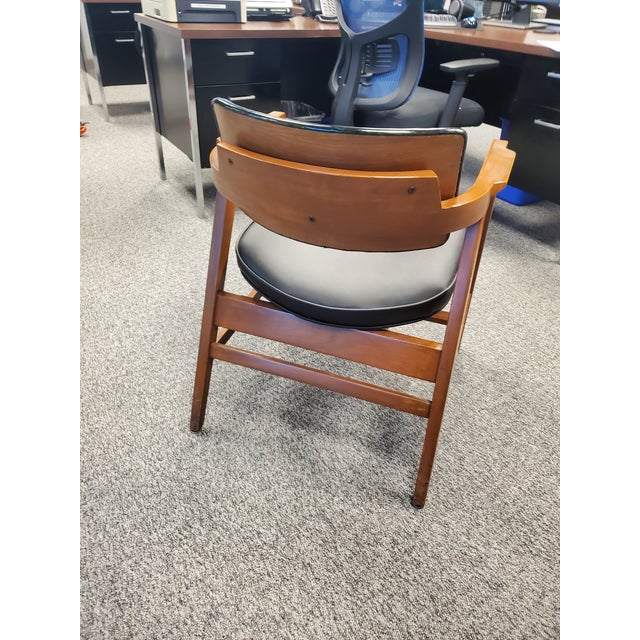 Vintage Wooden Mid Century Modern Gunlocke Co. Floating Accent Desk Arm Chair For Sale In Los Angeles - Image 6 of 7