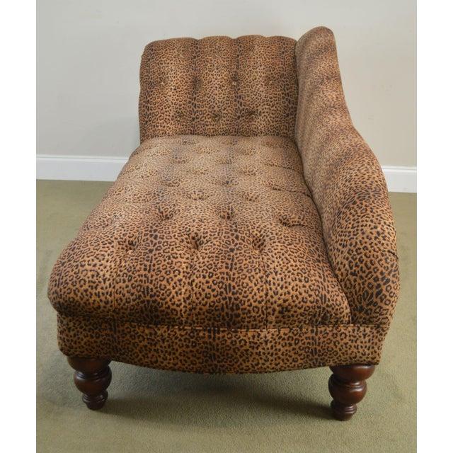 Regency Leopard Print Upholstered Tufted Chaise Lounge Recamier For Sale - Image 3 of 12