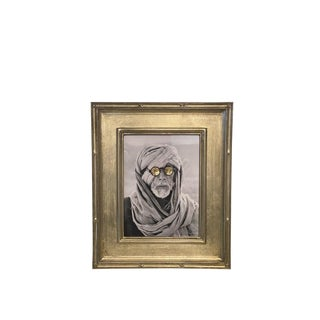 """""""Man With Glasses"""" Framed Embroidered Photograph For Sale"""
