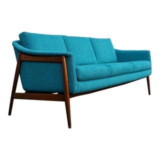 1960s Danish Modern Dux Sofa in Teal Tweed For Sale