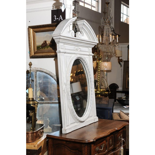 Renaissance Style 1850s Belgian Painted Oval Mirror with Broken Arch Pediment For Sale - Image 4 of 12