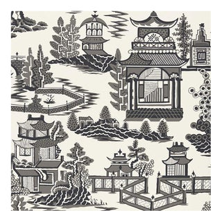 Sample - Schumacher Nanjing Chinoiserie Wallpaper in Smoke Grey For Sale