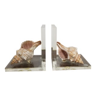 Lucite and Conch Shell Bookends - a Pair For Sale