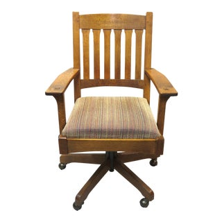 1990s Vintage Stickley Oak Swivel Office Chair For Sale