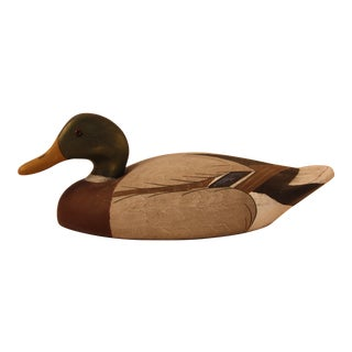 Vintage Wildfowler Mallard Drake Glass Eye Duck Decoy For Sale