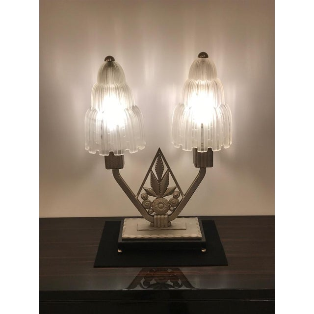 """French Art Deco """"Waterfall"""" Table Lamp Signed by Sabino For Sale - Image 12 of 13"""