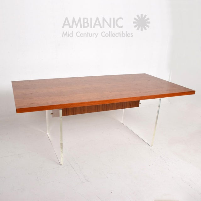 Gold Mid-Century Danish Modern Teak and Lucite Dining Table For Sale - Image 8 of 8