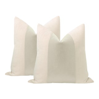 """22"""" Marble Mohair Panel + Linen Pillows - a Pair For Sale"""