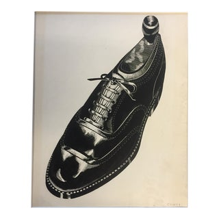 Vintage Scratch Board Shoe Illustration For Sale