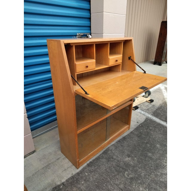 Mid 20th Century Mid Century Modern Light Yellow Secretary Bookcase For Sale - Image 5 of 10