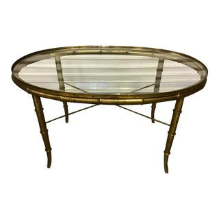 1960s Faux Bamboo Brass Cocktail Table For Sale