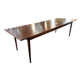 Rustic Oak Tapered Leg Farm Table For Sale