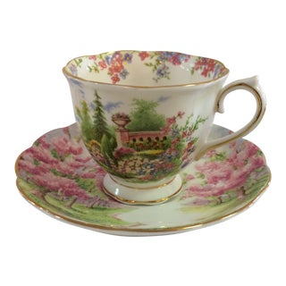 """Royal Albert """"Kentish Rockery"""" Bone China Tea Cup and Saucer Made in England For Sale"""