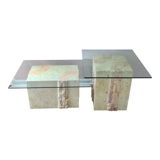 Contemporary Tessellated Travertine Accent Tables - a Pair For Sale
