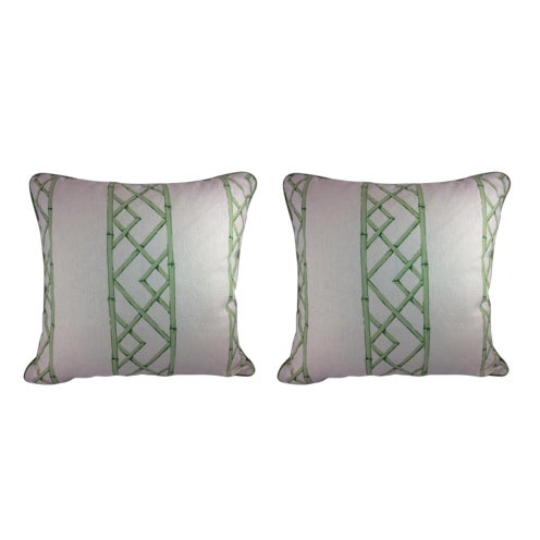 "Sarah Richardson's ""Latticely"" in Jade Pillows - a Pair For Sale"