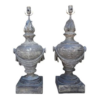 French Neoclassical Style Zinc Lamps-A Pair For Sale
