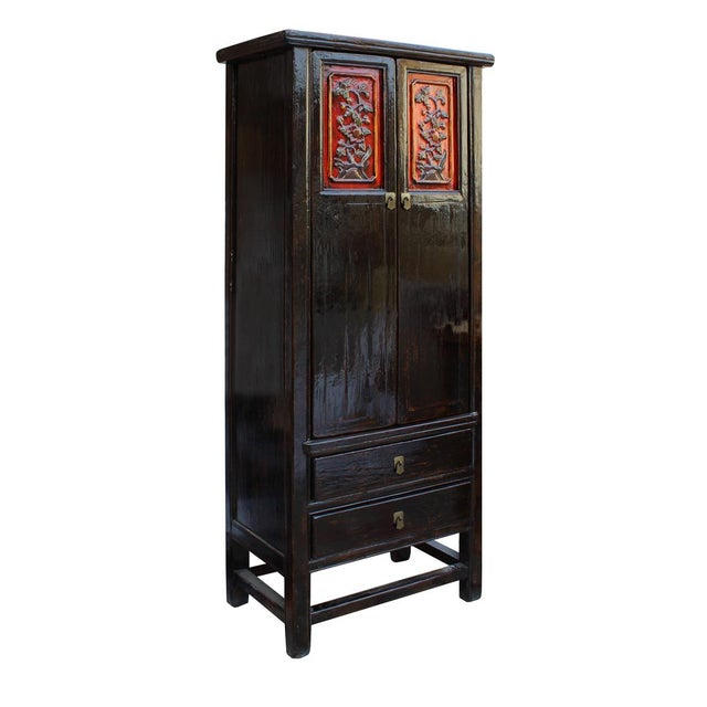 Asian Chinese Distressed Black Red Floral Motif Cabinet For Sale - Image 3 of 6