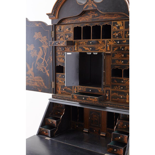 English Chinoiserie Style Lacquered Parcel-Gilt Secretary For Sale - Image 11 of 12