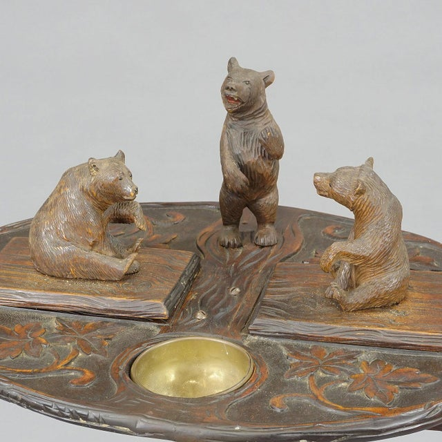 Black A Nice Black Forest Carved Smoking Side Table With Bears For Sale - Image 8 of 11