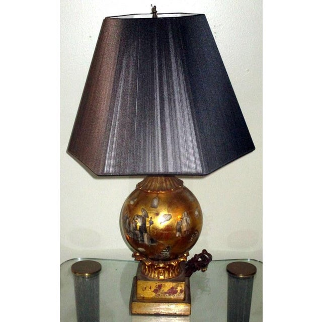 Vintage Italian Reverse Painted Table Lamp With Oriental Scenes For Sale - Image 10 of 13