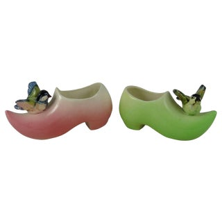 19th Majolica Pink & Green Clogs With Birds Massier - a Pair