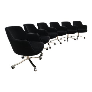 Six Signed Nicos Zographos Bucket Chairs in Black Mohair For Sale